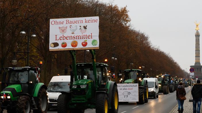 Proteste der Landwirte zu Beginn der Grünen Woche in Berlin