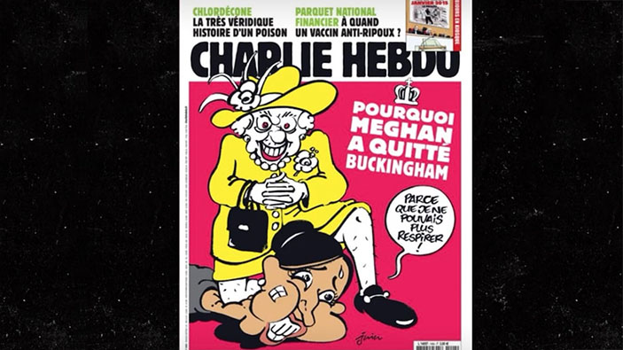 <i>Charlie Hebdo</i> raffigura Meghan Markle come George Floyd