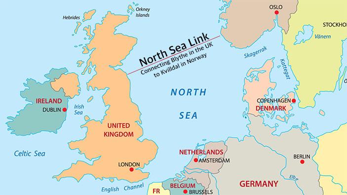 Un cable de alimentación submarino de 720 kilómetros conecta el Reino Unido y Noruega