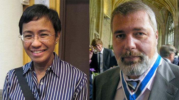 Le prix Nobel de la paix 2021 est décerné à des journalistes philippin et russe